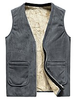 cheap -Men's Vest Daily Fall Winter Regular Coat Regular Fit Thermal Warm Sporty Jacket Sleeveless Solid Color Quilted Gray Black