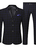 cheap -Men's Wedding Party / Evening Suits 3 pcs Notch Tailored Fit Single Breasted Two-buttons Patch Pocket Checkered Cotton