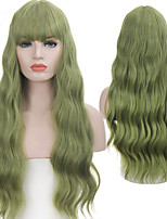 cheap -halloweencostumes Synthetic Wig Wavy Neat Bang Wig Long A1 A2 A3 A4 A5 Synthetic Hair Women's Soft Party Fashion Green