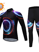 cheap -CAWANFLY Men's Long Sleeve Cycling Jersey with Tights Winter Bule / Black Bike Thermal Warm Sports Geometic Road Bike Cycling Clothing Apparel / Micro-elastic / Athleisure