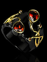 cheap -Women Band Ring AAA Cubic Zirconia Vintage Style Gold / Black Brass Floral Theme Artistic Ethnic Fashion 1pc / Women's