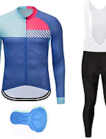 cheap -21Grams Men's Long Sleeve Cycling Jersey with Bib Tights Spandex Polyester Blue Patchwork Funny Bike Clothing Suit 3D Pad Quick Dry Moisture Wicking Breathable Back Pocket Sports Patchwork Mountain