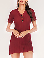 cheap -Women's Sheath Dress Short Mini Dress Red Wine Black Short Sleeve Solid Color Knit Button Fall Spring V Neck Casual Modern Regular Fit 2021 One-Size / Cotton