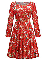 cheap -Santa Suit Dress Masquerade Christmas Dress Adults' Women's Vintage Christmas Christmas New Year Christmas Carnival Festival / Holiday Spandex Terylene Red Women's Easy Carnival Costumes Floral