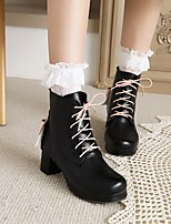 cheap -Women's Boots Chunky Heel Round Toe Booties Ankle Boots Party Daily Faux Leather Lace Anime Purple Pink White / Booties / Ankle Boots