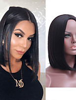 cheap -Synthetic Wig Natural Straight Bob Middle Part Wig Short Black Synthetic Hair Women's Cosplay Soft Party Black