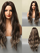 cheap -HAIR CUBE Long Wavy Blonde Brown Ombre Synthetic Wigs Cosplay Highlight Wig for Women Middle Part Hair Wig Heat Resistant