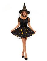 cheap -Witch Cosplay Costume Adults' Women's Halloween Halloween Halloween Festival / Holiday Terylene Black Women's Easy Carnival Costumes Stars / Dress / Hat / Waist Belt / Neckwear
