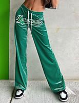 cheap -Women's Casual / Sporty Streetwear Comfort Sweatpants Leisure Sports Weekend Pants Letter Full Length Pocket Elastic Drawstring Design Print Green Brown Dark Blue