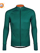 cheap -CAWANFLY Men's Long Sleeve Cycling Jersey Cycling Jacket Winter Dark Green Geometic Bike Tracksuit Winter Jacket Top Thermal Warm Fleece Lining Sports Clothing Apparel / Micro-elastic / Athleisure