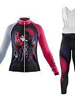 cheap -21Grams Women's Long Sleeve Cycling Jersey with Bib Tights Summer Spandex Polyester Black / Red 3D Funny Animal Bike Clothing Suit 3D Pad Quick Dry Moisture Wicking Breathable Back Pocket Sports 3D