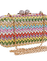cheap -Women's Bags Alloy Evening Bag Crystals Rhinestone Party Wedding Straw Bag Handbags Gold Rainbow Brown