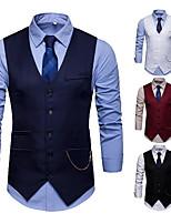 cheap -Men's Vest Gilet Business Daily Spring Summer Short Coat Regular Fit Lightweight Breathable Business Casual Jacket Sleeveless Solid Color Pocket Wine White Black