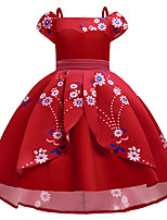 cheap -Kids Little Girls' Dress Solid Colored Party Performance Embroidered Print Red Knee-length Sleeveless Cute Dresses Children's Day Fall Winter Slim 3-12 Years / Spring / Summer
