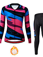 cheap -21Grams Women's Long Sleeve Cycling Jersey with Tights Winter Fleece Spandex Black Bike Quick Dry Moisture Wicking Sports Patterned Mountain Bike MTB Road Bike Cycling Clothing Apparel / Stretchy