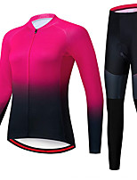 cheap -21Grams Women's Long Sleeve Cycling Jersey with Tights Spandex Rose Red Gradient Bike Quick Dry Moisture Wicking Sports Gradient Mountain Bike MTB Road Bike Cycling Clothing Apparel / Stretchy