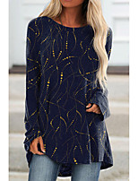 cheap -Women's Painting T shirt Graphic Long Sleeve Print Round Neck Basic Tops Regular Fit Blue Purple Green / 3D Print