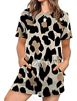 cheap -Women Basic Streetwear Leopard Casual Vacation Two Piece Set Tracksuit T shirt Loungewear Biker Shorts Jogger Pants Drawstring Print Tops