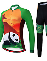 cheap -21Grams Women's Long Sleeve Cycling Jersey with Tights Spandex Polyester Green Panda Funny Bike Clothing Suit 3D Pad Quick Dry Moisture Wicking Breathable Back Pocket Sports Panda Mountain Bike MTB