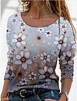 cheap -Women's T shirt Flower Long Sleeve Round Neck Vintage Tops Regular Fit Rainbow / 3D Print