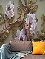 cheap -Mural Wallpaper Wall Sticker Covering Print  Peel and Stick  Removable Self Adhesive Three-dimensional Relief Flowers PVC / Vinyl Home Decor