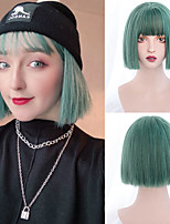 cheap -Synthetic Wig Natural Straight Bob Neat Bang Wig Short Silver Ombre Green Green Black Pink Synthetic Hair Women's Cosplay Soft Party Pink Black
