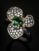 cheap -Women Ring AAA Cubic Zirconia Retro Gold / Black Brass Floral Theme Elegant Fashion European 1pc / Women's
