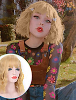 cheap -Synthetic Wig Curly Wavy Bob Neat Bang Wig Short A1 A2 A3 A4 A5 Synthetic Hair Women's Cosplay Soft Party Pink Blonde