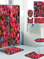 cheap -Beautiful Foliage Printed Bathroom home Decoration Bathroom shower curtain lining waterproof shower curtain with 12 hooks floor mats and four-piece toilet mats.