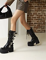 cheap -Women's Boots Platform Round Toe Mid Calf Boots Daily Work Patent Leather Buckle Lace-up Solid Colored Black / Mid-Calf Boots