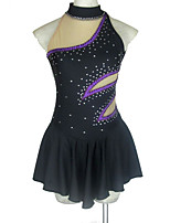 cheap -Figure Skating Dress Women's Girls' Ice Skating Dress Black Open Back Patchwork Spandex High Elasticity Competition Skating Wear Crystal / Rhinestone Sleeveless Ice Skating Figure Skating / Kids