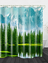 cheap -Natural Beauty Printed Waterproof Fabric Shower Curtain Bathroom Home Decoration Covered Bathtub Curtain Lining Including hooks.