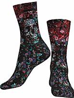 cheap -Socks Cycling Socks Men's Women's Bike / Cycling Breathable Soft Comfortable 1 Pair Skull Floral Botanical Cotton Black S M L / Stretchy