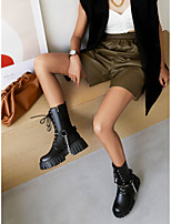 cheap -Women's Boots High Heel Round Toe Booties Ankle Boots Daily Work Faux Leather Solid Colored Black / Booties / Ankle Boots