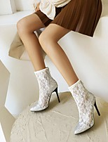 cheap -Women's Boots Stiletto Heel Pointed Toe Booties Ankle Boots Daily Outdoor Faux Leather Color Block White Black / Booties / Ankle Boots