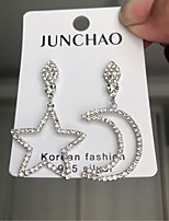 cheap -Women's Earrings Mismatched Moon Star Romantic Earrings Jewelry Silver For Wedding Street Gift Daily Festival 1 Pair