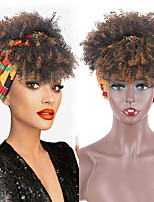 cheap -Wig Short Kinky Curly Wig With Bangs Turban Wrap Wig 2 in 1 Afro Puff Headband Bun with Bangs Drawstring Headwrap Wigs