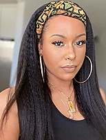 cheap -Kinky Straight Headband Wigs for Women Long Black Wig Yaki Straight Synthetic Hair Wigs with Black Headband for Daily Party Use