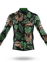cheap -21Grams Men's Long Sleeve Cycling Jersey Spandex Polyester Black 3D Funny Sloth Bike Top Mountain Bike MTB Road Bike Cycling Quick Dry Moisture Wicking Breathable Sports Clothing Apparel / Stretchy