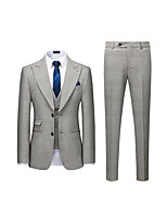 cheap -Men's Wedding Suits 3 pcs Peak Standard Fit Single Breasted Two-buttons Straight Piped Striped Polyester