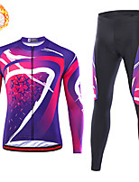 cheap -21Grams Men's Long Sleeve Cycling Jersey with Tights Winter Fleece Spandex Violet Stripes Bike Quick Dry Moisture Wicking Sports Stripes Mountain Bike MTB Road Bike Cycling Clothing Apparel