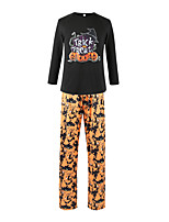cheap -Women's Pajamas Sets Home Halloween Daily Elastic Waist Cartoon Letter Polyster Funny Soft T shirt Pant Spring Summer Crew Neck Long Sleeve Long Pant Not Specified
