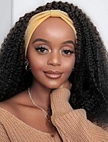 cheap -Headband Wig Curly Human Hair - Headband Wigs for Black Women Half wig Glueless None Lace Front Wigs with Headbands Attached Brazilian Virgin Hair Natural Color 150% Density 12-30 Inch