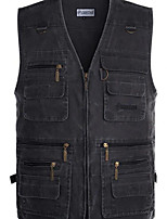 cheap -Men's Vest Gilet Daily Going out Fall Spring Short Coat Zipper V Neck Loose Breathable Casual Jacket Sleeveless Plain Pocket Blue Khaki Light gray