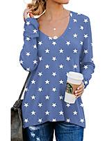 cheap -Women's Geometric Painting T shirt Graphic Geometric Leopard Long Sleeve Print V Neck Basic Tops Regular Fit Blue Gray White