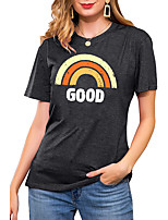 cheap -Women's T shirt Rainbow Graphic Letter Print Round Neck Basic Vintage Tops Regular Fit Blue Blushing Pink Wine