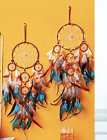 cheap -Boho Dream Catcher Handmade Gift Wall Hanging Decor Art Ornament Craft 5 Circles Bead Feather For Kids Bedroom Wedding Festival