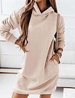 cheap -Women's Shift Dress Knee Length Dress khaki Black Brown Long Sleeve Solid Color Patchwork Winter Hoodie Casual Linen S M L XL XXL XXXL