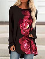 cheap -Women's T Shirt Dress Tee Dress Short Mini Dress Blue Wine White Black Red Long Sleeve Floral Print Fall Winter Round Neck Casual 2021 S M L XL XXL 3XL 4XL 5XL