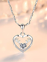 cheap -Pendant Necklace Necklace Women's Classic Cubic Zirconia Silver Plated Simple Fashion Classic Casual / Sporty Sweet Cute Blue Pink White 40 cm Necklace Jewelry 1pc for Street Gift Daily Prom Festival